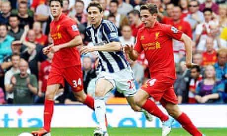 West Bromwich Albion's Zoltan Gera and Joe Allen of Liverpool