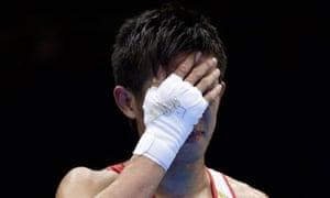 Japan's Satoshi Shimizu weeps