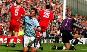 Niall Quinn reacts during Manchester City v Liverpool in 1995-96