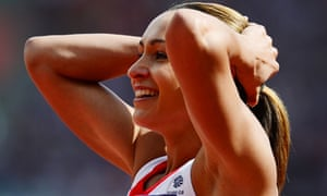 Britain's Jessica Ennis reacts