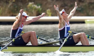 Anna Watkins and Katherine Grainger of Great Britain celebrate