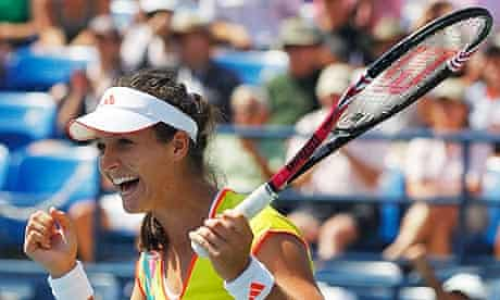 Laura Robson of Britain celebrates beating Li Na of China in the third round of the US Open