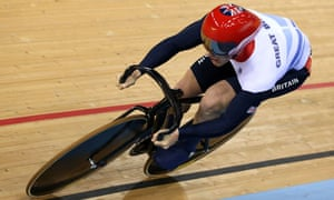Jason Kenny of Team GB on his way to an Olympic record in qualifying for the men's sprint