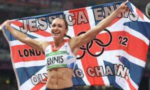 Jessica Ennis celebrates winning the heptathlon