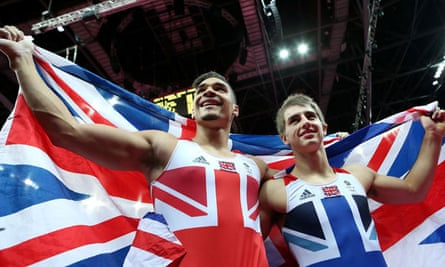 Louis Smith and Max Whitlock celebrate their medals