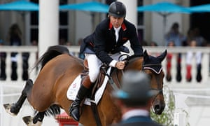 Nick Skelton rides Big Star in the equestrian individual jumping competition at Greenwich Park