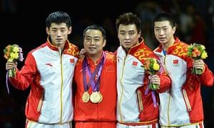 Team China celebrates winning gold on th