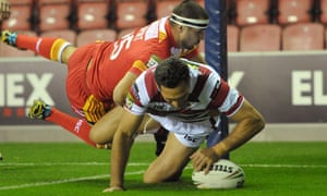 George Carmont scores the first try for Wigan against Catalan Dragons