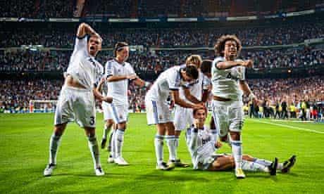 Real Madrid players celebrate Cristiano Ronaldo's goal