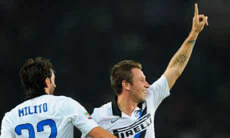 Inter Milan's Antonio Cassano celebrates