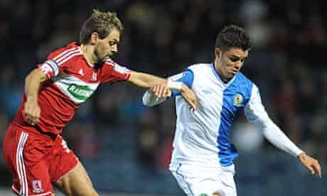 Blackburn's Fabio Nunes and Jonathan Woodgate of Middlesbrough