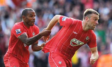 """Jason Puncheon, left, and Rickie Lambert in Southampton's new """"Premier League-embracing"""" kit."""