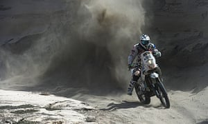 Thomas Bourgin competes in the Dakar Rally