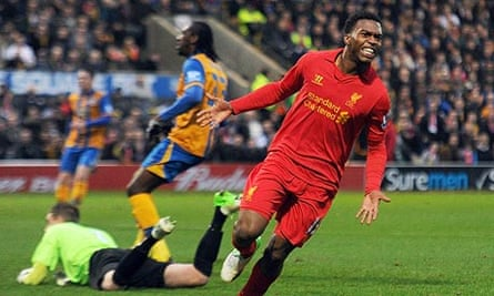 Daniel Sturridge celebrates scoring for Liverpool against Mansfield in the third round of the FA Cup
