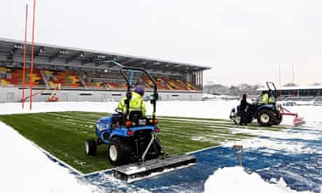 Snow is cleared from Saracens' new artificial pitch