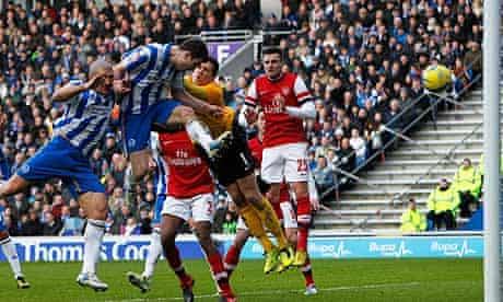 Brighton's Ashley Barnes scores