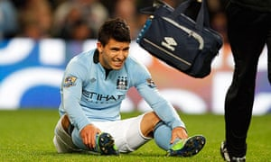 Sergio Agüero injured his hamstring in Manchester City's 3-0 win against Stoke on New Years Day