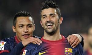 Barcelona's forward David Villa (R) cele