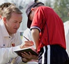 Andy Flower signs an autograph during an Essex press open day at Chelmsford in April 2003