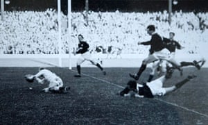 Richard Sharp touches down for his memorable score for England v Scotland at Twickenham in 1963