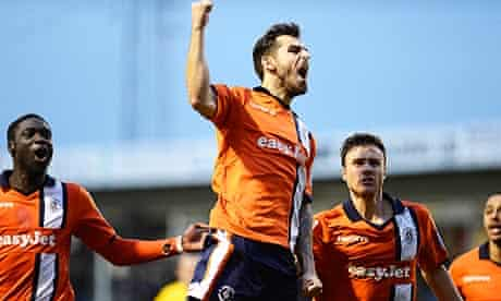 Alex Lawless celebrates scoring opening goal for Luton Town