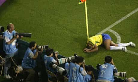 Rivaldo of Brazil lies injured