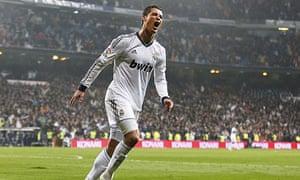 Cristiano Ronaldo celebrates completing his hat-trick for Real Madrid against Celta Vigo