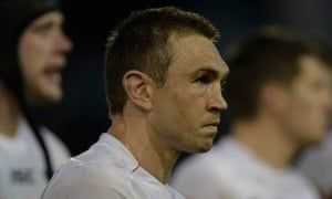 Kevin Sinfield leaves the field after the England captain and his side lost 15-14 to Italy