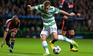 James Forrest, who scored Celtic's opening goal from the spot, prepares fires in a left-foot shot.