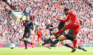 Daniel Sturridge scores for Liverpool against Crystal Palace in the Premier League at Anfield.