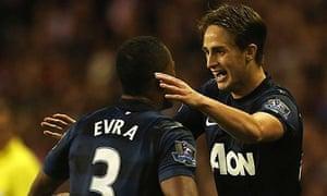Adnan Januzaj of Manchester United celebrates scoring his second goal of the game