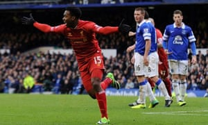 Daniel Sturridge celebrates after scoring in Liverpool's 3-3 draw against Everton