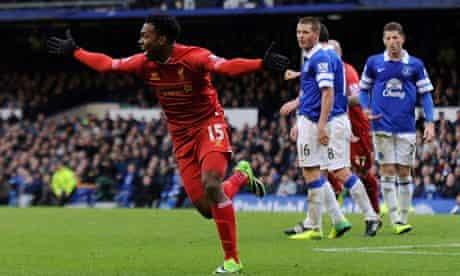 Daniel Sturridge celebrates after scoring in Liverpool's 3-3 draw against Everton