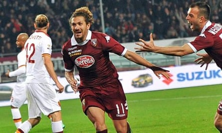 Alessio Cerci, left, celebrates scoring for Torino in their 1-1 draw with Roma on Sunday