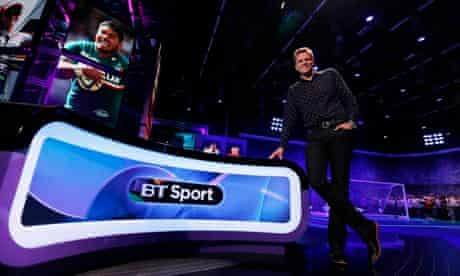 Anchor Humphrey poses for a photograph before the BT Sport channel launch in east London