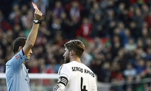 Real Madrid's Sergio Ramos gets a red card