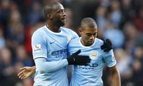 Manchester City's Yaya Touré and Fernandinho