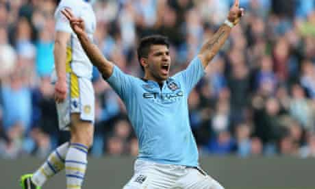 Sergio Agüero after scoring his second goal, Manchester City v Leeds United, FA Cup