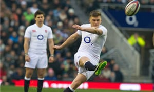 England's Owen Farrell kicks a penalty during their Six Nations victory against France at Twickenham