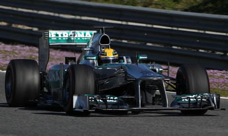 Lewis Hamilton testing the Mercedes F1 W04 in Jerez on the final day of the 2013 season's first test