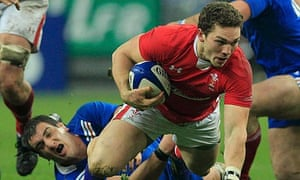 Wales' try-scorer George North in action against France