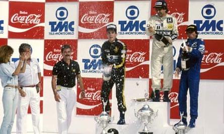 Ayrton Senna and Nelson Piquet on podium 1986 Brazil GP