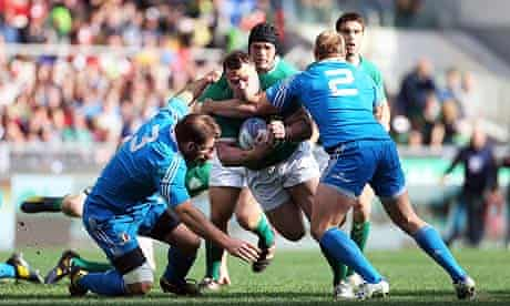 Ireland's Cian Healy is tackled in the Six Nations game against Italy at the Stadio Olimpico in Rome