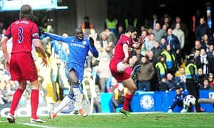 Chelsea striker Demba Ba, left, scores the opening goal against West Bromwich Albion