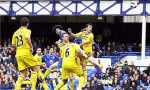 Everton's Marouane Fellaini scores the opening goal against Reading in the Premier League