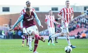 West Ham United's Jack Collison scores in the Premier League against Stoke City