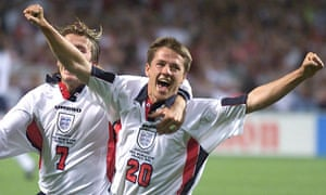 2babf0a6b1 Michael Owen celebrates with David Beckham after scoring for England  against Romania, 1998 World Cup