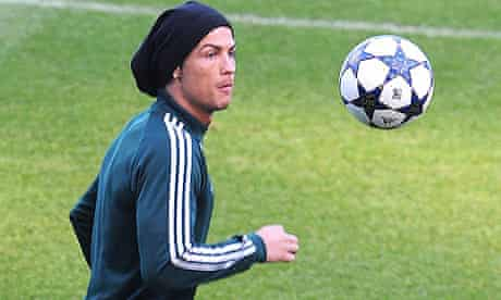 Cristiano Ronaldo in training ahead of Real Madrid's match against Manchester United at Old Trafford