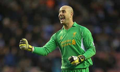 José Reina in action for Liverpool against Wigan