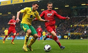 Norwich City's Robert Snodgrass and Luke Shaw of Southampton in the Premier League